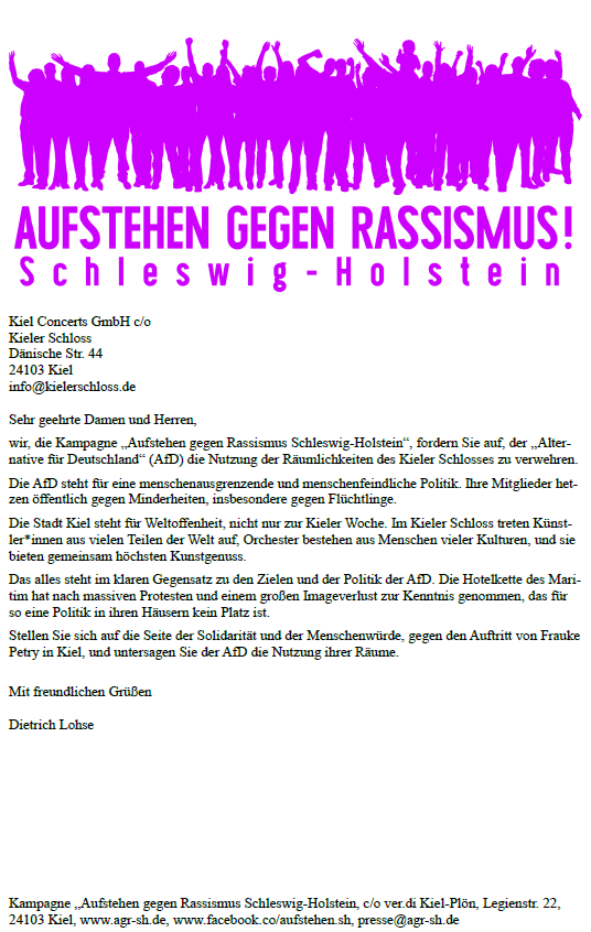 Anfrage an das Kieler Schloss